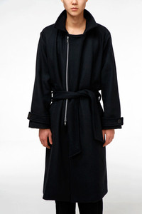 Baroque Wool Zipper Trench Coat